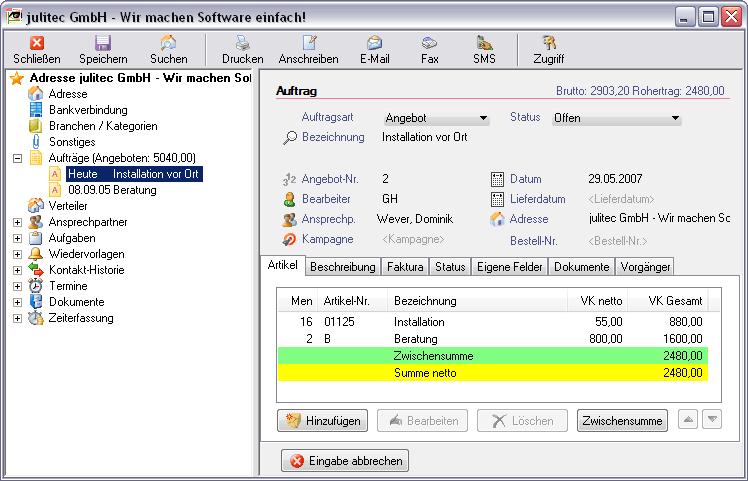 julitecCONTACT + Faktura