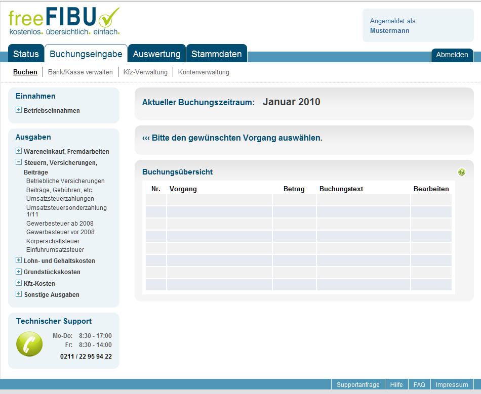 FreeFIBU - kostenlose Online-Buchhaltung