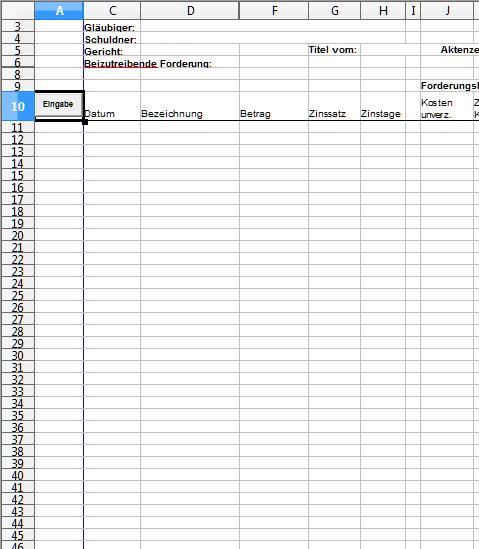 Forderungsberechnung mit Open Office Calc