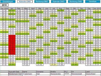 Belegungsplan für Ferienwohnungen unter Excel