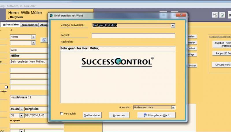 Successcontrol - Kundenpflege und Auftragsbearbeitung