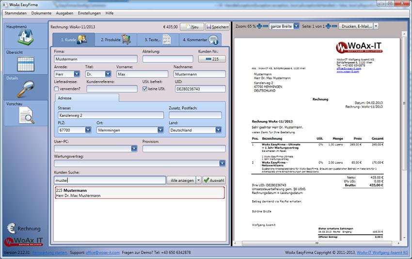 Bürosoftware WoAx EasyFirma